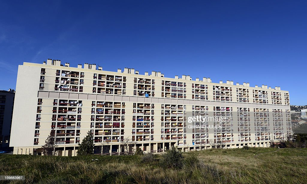 A view of a residential building in a northern district of Marseille, southern France, on January 22, 2013.