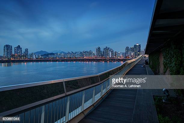 View of a residential district and bridge in Seoul
