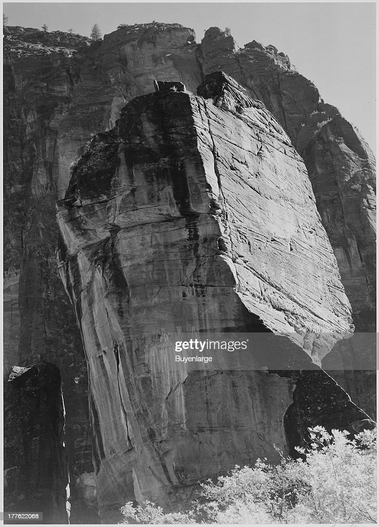 View of a rock formation, from below, in Zion National Park, Utah, 1942.
