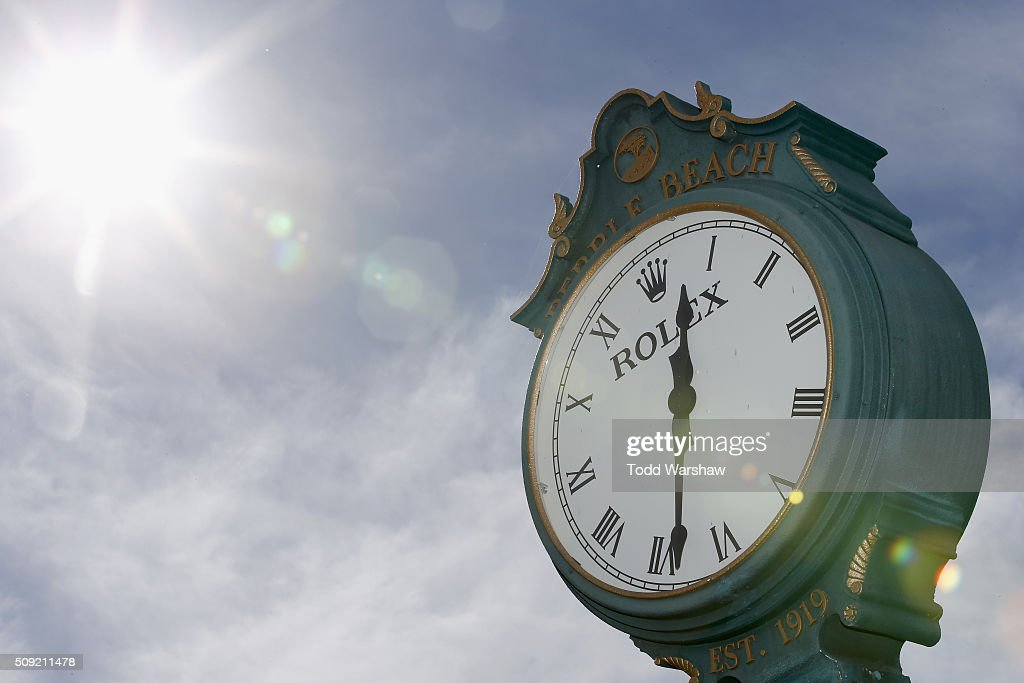 A view of a Rolex clock near the 1st tee box prior to the AT&T Pebble Beach National Pro-Am at Pebble Beach Golf Links on February 9, 2016 in Pebble Beach, California.