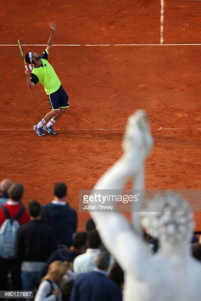 A view of a Roman statue as Marco Cecchinato of Italy serves to Igor Sijsling of Holland during day three of the Internazionali BNL d'Italia tennis...