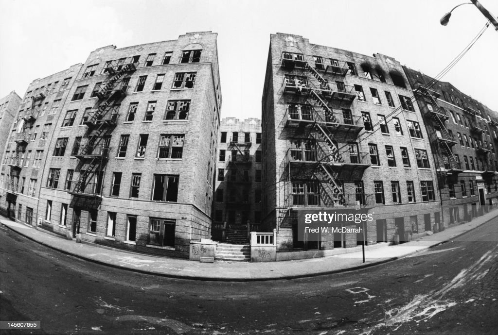 View of a row of abandoned Bronx apartment buildings, New York, New Yoek, June 13, 1975.