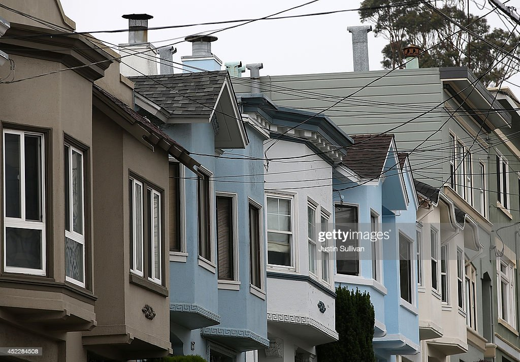 A view of a row of homes on July 17, 2014 in San Francisco, California. According to a report by DataQuick, the median price of new or existing single-family homes and condos reached $1 million.