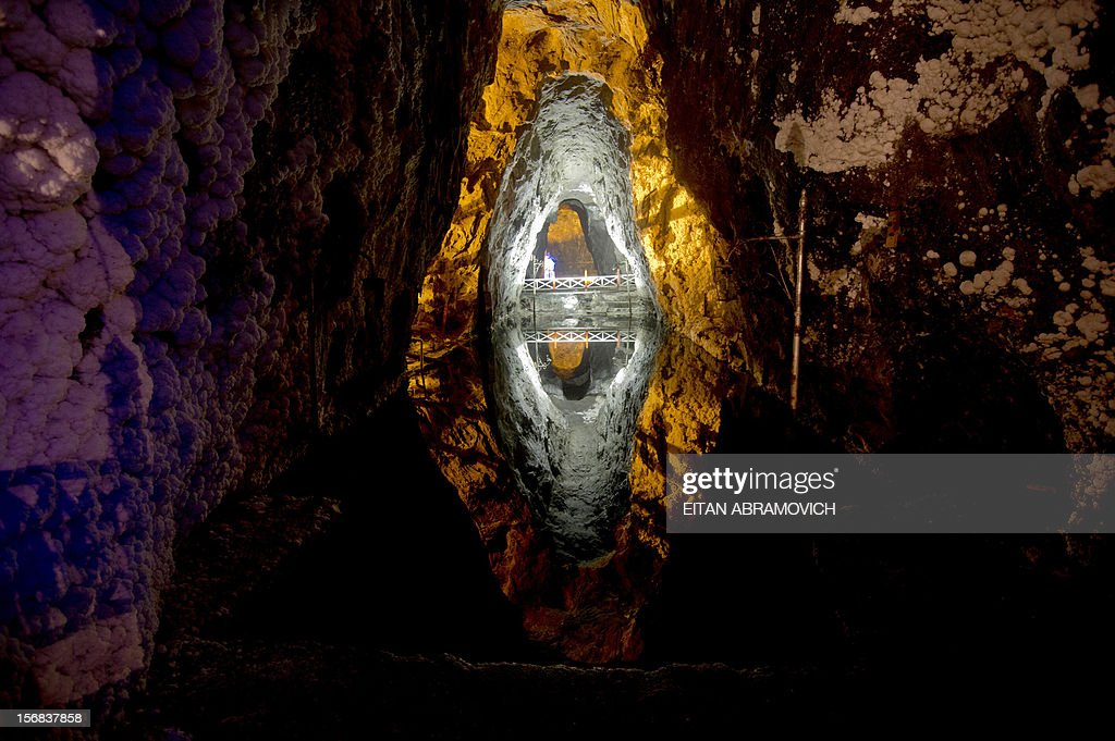 View of a saltwater pond at Nemocon's salt mine in Nemocon, Cundinamarca, Colombia on November 22, 2012. The mine, an impressive construction at 80 meters of depth with over 500 years of history, has become a new attractive tourist destination in Colombia. AFP PHOTO/Eitan Abramovich