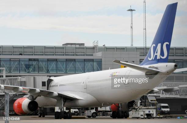 View of a SAS Airbus 330 parked at a gate of Arlanda's airport in Sweden on August 16 2011 The SAS flight bound for Chicago was cancelled today after...