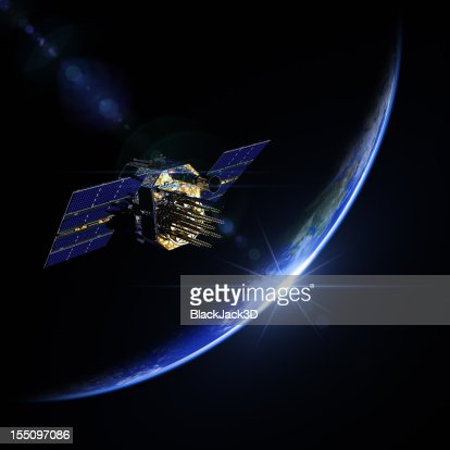 A view of a satellite during sunrise in space