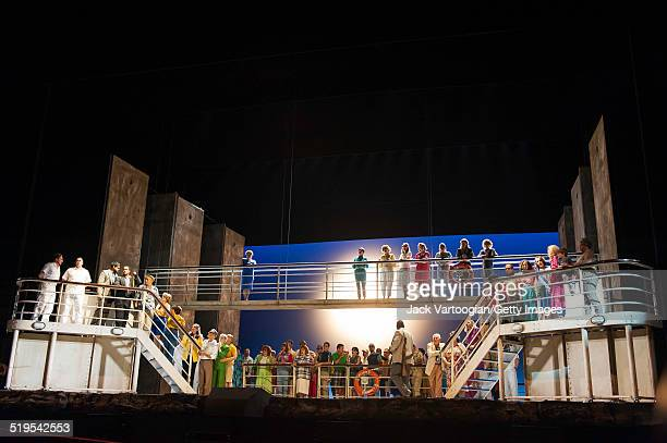 View of a scene from Act II of the final dress rehearsal for the Metropolitan Opera's premiere of 'The Death of Klinghoffer' at the Metropolitan...