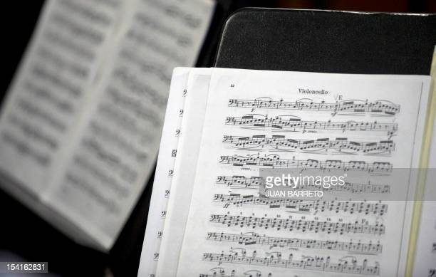 View of a score for violoncello during an interview with the founder of Venezuela's National System of Children and Youth Orchestras Jose Antonio...