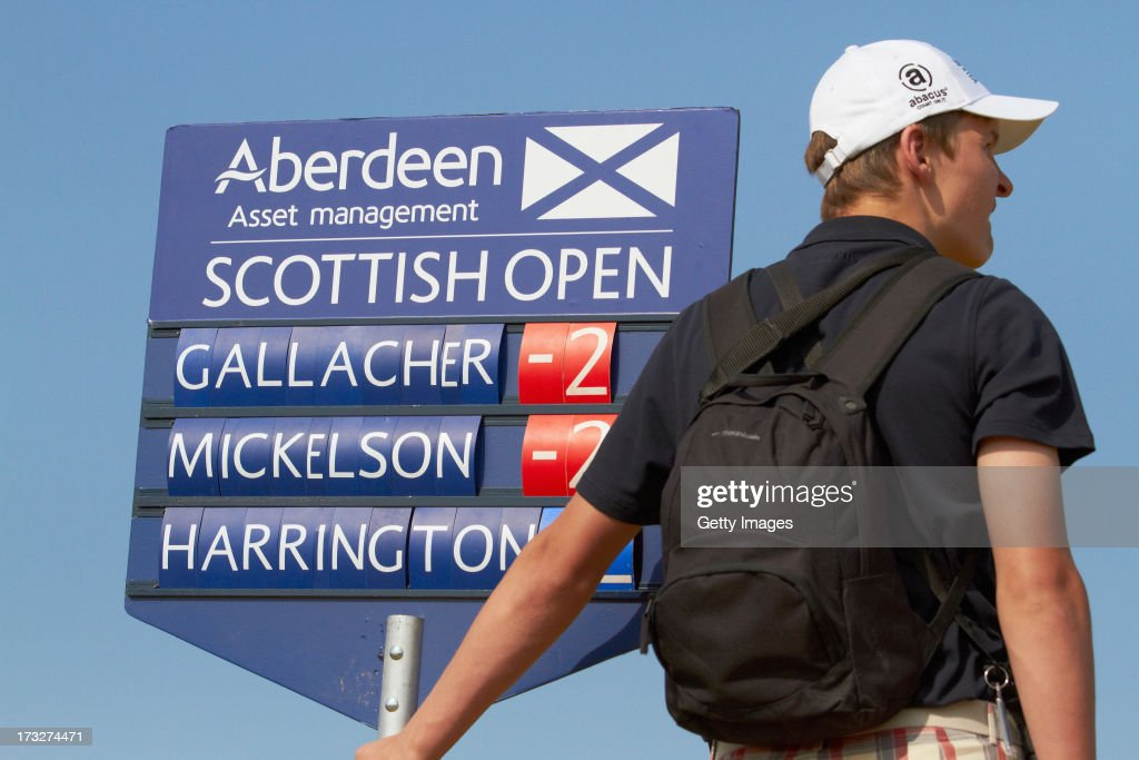 View of a scorer during the first round of the Aberdeen Asset Management Scottish Open at Castle Stuart Golf Links on July 11, 2013 in Inverness, Scotland.