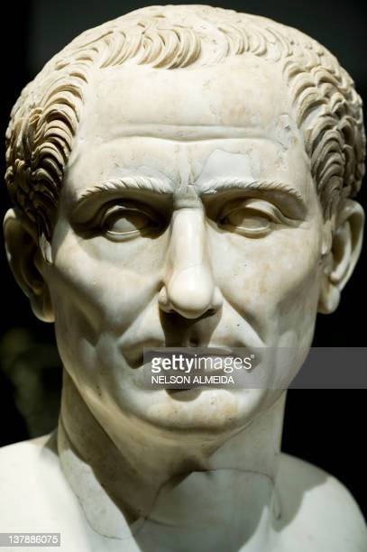 View of a sculpture depicting Roman Emperor Julius Caesar on display during the 'Rome The Life and Emperors' exhibition at the Art Museum of Sao...