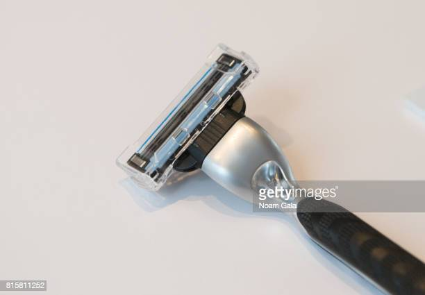 A view of a shaving razor donated by Shannon Beveridge on display at 'The EXhibition' presented by Bravo And The Museum Of Broken Relationships at...
