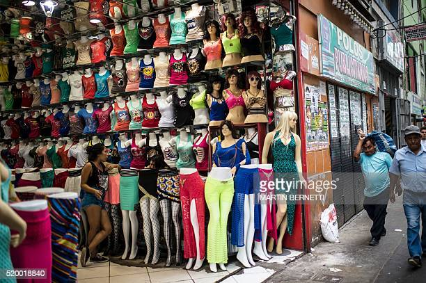 View of a shop in a commercial district in Lima on April 07 2016 The textile industry in Peru which concentrates about 80% of the work force has lost...