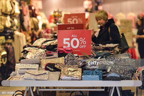 A view of a shop in Dublin's Grafton Street with 'SALE ALL 50% OFF' sign as the start of the new year brings with it all January sales and bargains...