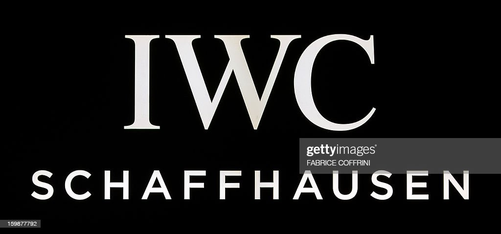 A view of a sign by Swiss watchmaker IWC, part of luxury goods group Richemont, during the opening day of the 'Salon International de la Haute Horlogerie' (SIHH), a professional fair in fine watchmaking, on January 21, 2013, in Geneva.