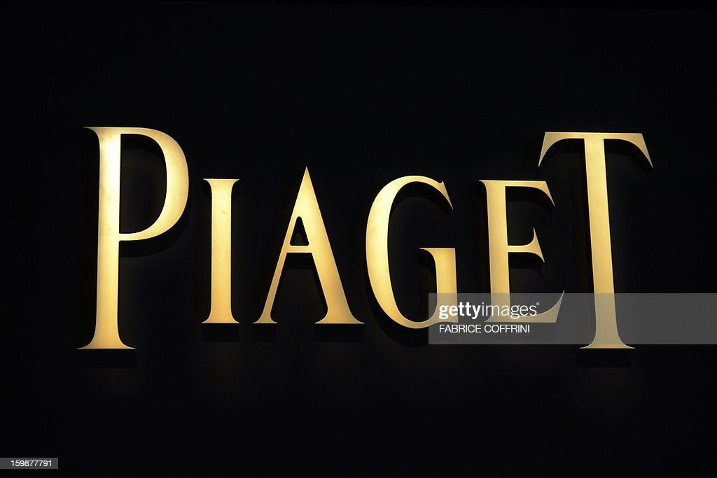 A view of a sign by Swiss watchmaker Piaget, part of luxury goods group Richemont, during the opening day of the 'Salon International de la Haute Horlogerie' (SIHH), a professional fair in fine watchmaking on January 21, 2013, in Geneva.