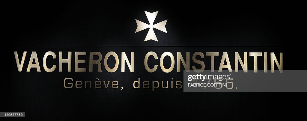 A view of a sign by Swiss watchmaker Vacheron Constantin, part of luxury goods group Richemont, during the opening day of the 'Salon International de la Haute Horlogerie' (SIHH), a professional fair in fine watchmaking, on January 21, 2013, in Geneva.