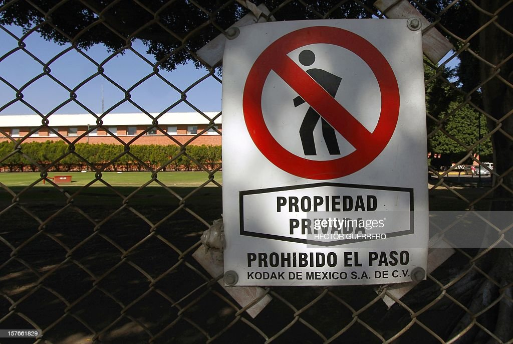 View of a sign on a fence of the Kodak photography company in Guadalajara City on December 5, 2012. Next December 6 and 7 Kodak of Mexico will auction 800 machinery and equipment lots with a value close to 2 million dollars. 2012.