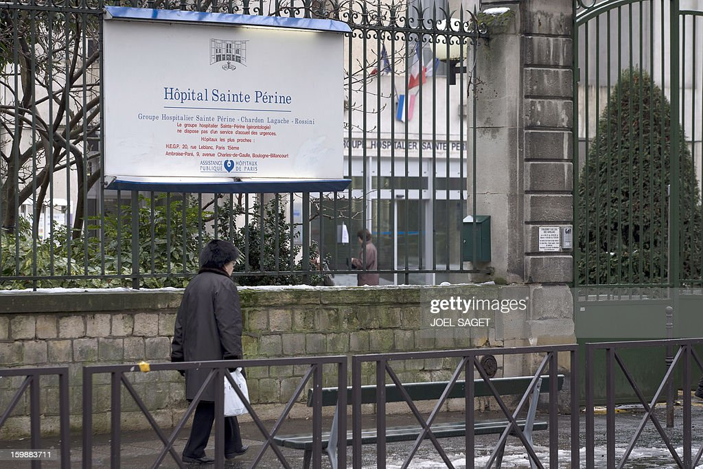 A view of a sign on the gate outside the Sainte Perine hospital in Paris, on January 22, 2013. A 90 year-old patient was found dead inside the hospital garden on January 21 after she left her room and evaded surveillance the night before. After taking a sleeping pill, the victim allegedly escaped her room, and when notified, hospital staff and police officers searched for her for several hours in vain. Her body was found in the cold garden the following day.