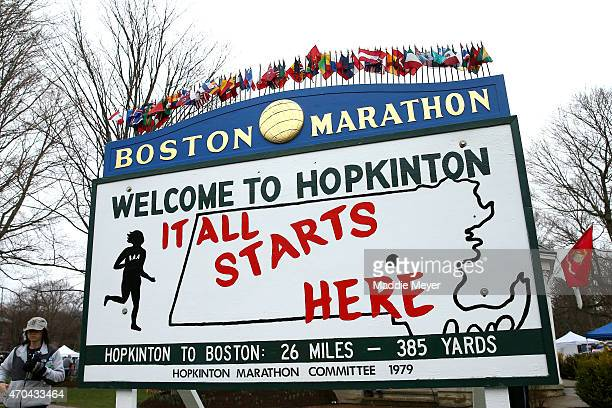 A view of a sign stating 'It All Starts Here' near the start in Hopkinton of the 119th Boston Marathon on April 20 2015 in Boston Massachusetts