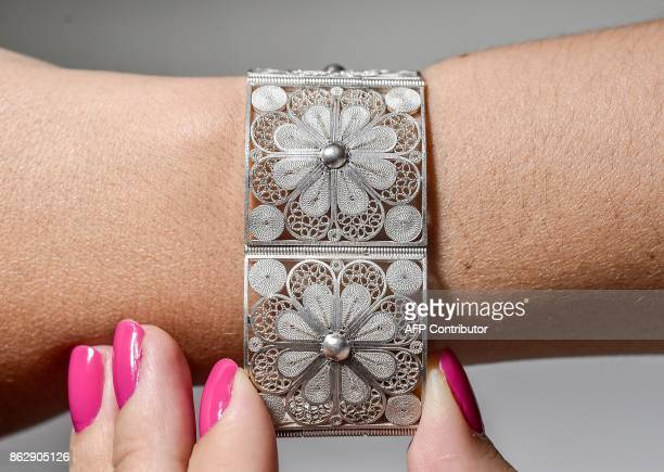 View of a silver filigree bracelet in Mompox on 24 September 2017 The art of filigree a typical technique of Colombian jewellery was brought into the...