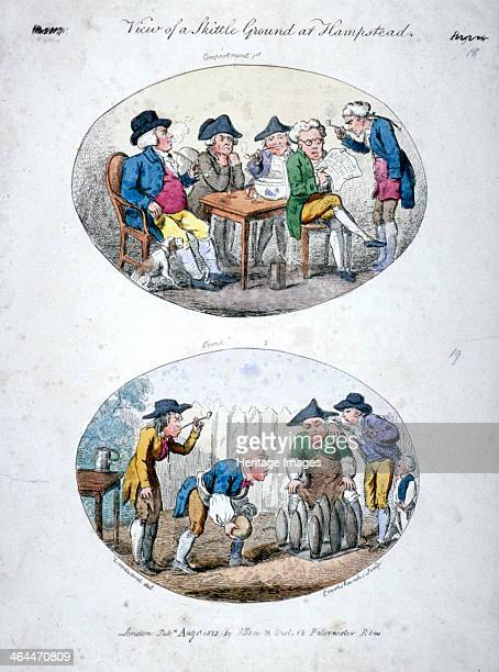 'View of a Skittle Ground at Hampstead' 1813 Two scenes above five men sit or stand round a tabe with a punch bowl and glasses some smoking pipes...