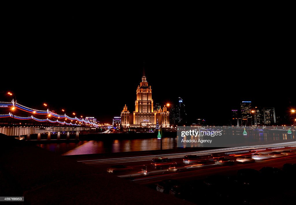 A view of a skyscraper and Kutuzovsky avenue built with the order of Stalin in the postwar period, in Moscow, Russia, on December 29, 2013.