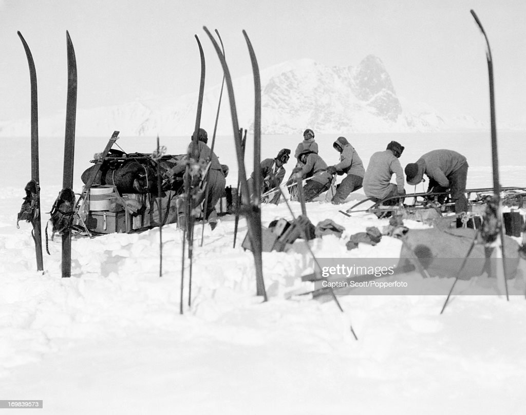 A view of a sledge team at work on the Beardmore Glacier photographed during the last, tragic voyage to Antarctica by Captain Robert Falcon Scott on 13th December 1911. Scott was tutored by Herbert Ponting, the renowned photographer who was the camera artist to the expedition, which enabled Scott to take his own memorable pictures before perishing on his return from the South Pole on or after 29th March 1912.