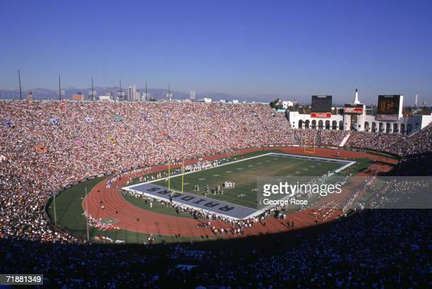 View of a sold out Los Angeles Memorial Coliseum as the Los Angeles Raiders host the Denver Broncos on December 3 1989 in Los Angeles California The...