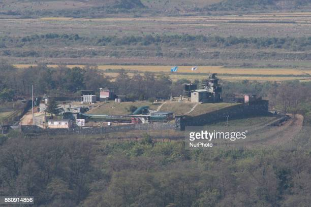 View of a South Korean army guard post from Dora Observatory near the Demilitarized Zone dividing two Koreas October 13 2017