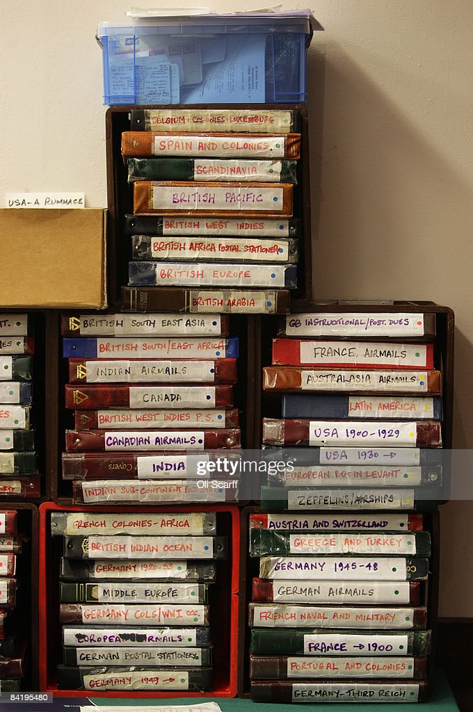 A view of a stamp trader's filing system on his stall at the Strand Stamp Show in the Royal National Hotel on January 7, 2008 in London, England. The monthly Strand Stamp Show held in London attracts philatelist dealers and collectors from around the country.