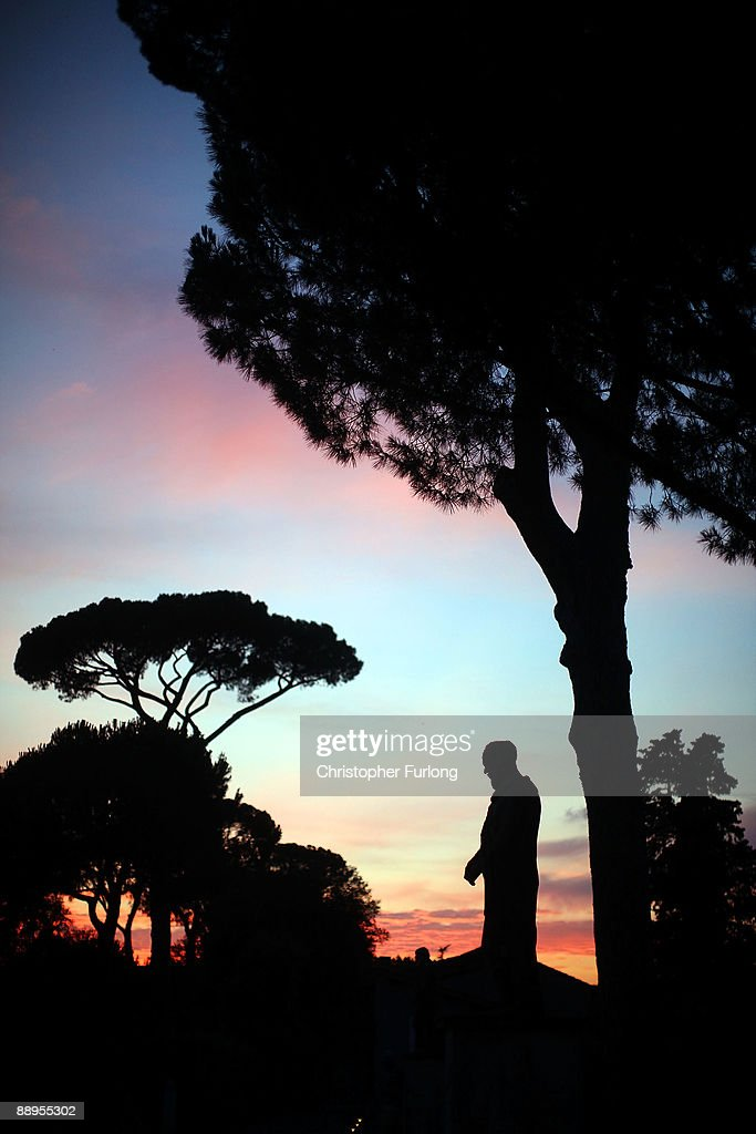 A view of a statue at sunset at Villa Medici on July 9, 2009 in Rome, Italy. With nearly 3000 years of history Rome continues to live up to its motto of The Eternal City being one of the founding cities of Western Civilisation.