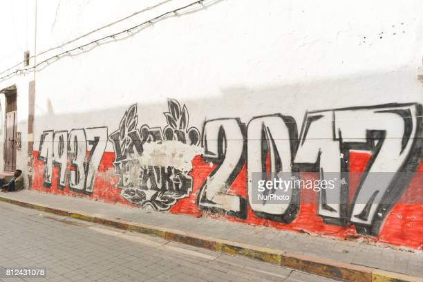 A view of a street art related to Wydad Athletic Club seen inside Casablanca's medina On Friday June 30 in Casablanca Morocco