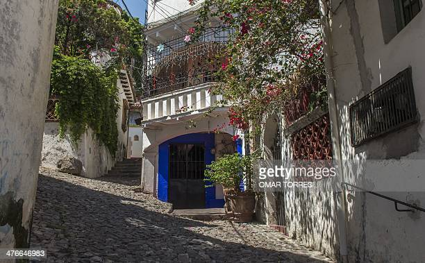 View of a street in Taxco Guerrero state Mexico on March 3 where Oscar winner for Best Supporting Actress KenyanMexican born Lupita Nyong'o studied...