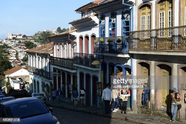 View of a street of the colonial city of Ouro Preto in Minas Gerais Brazil on June 19 2014 Ouro Preto originally called Vila Rica was the focal point...