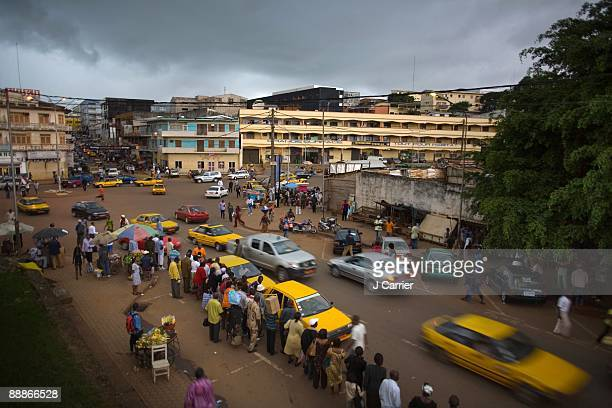 A view of a street scene outside the Global Viral Forecasting Initiative's 'Wolfelab' on September 4 2008 in Cameroon's capital Yaounde Dr Nathan...