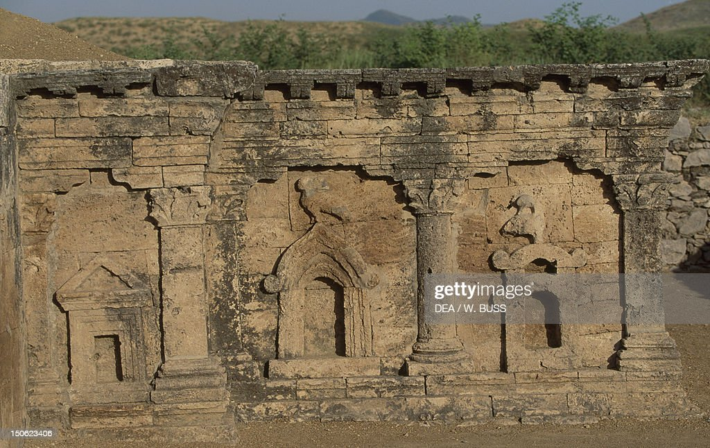 View of a stupa of a twoheaded eagle of ancient Sirkap archaeological area in Taxila Pakistan Indus civilization 2nd century BC
