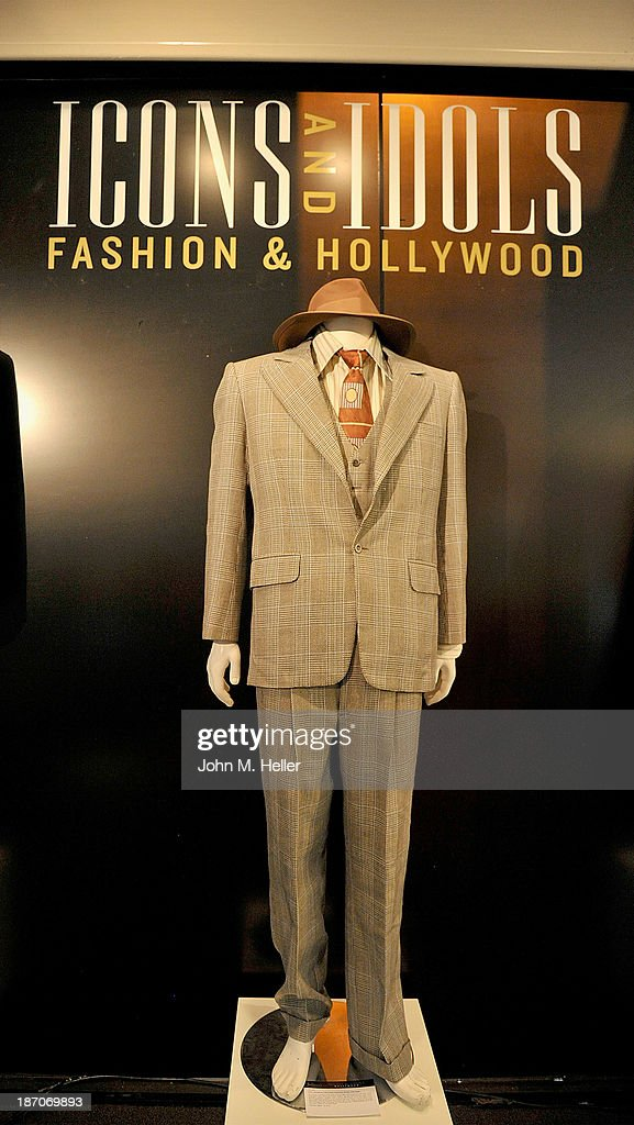 A view of a suit worn by actor Paul Newman in 'The Sting' at the press preview for Icons & Idols Fashion and Hollywood Exhibit at Julien's Auctions Gallery on November 5, 2013 in Los Angeles, California.