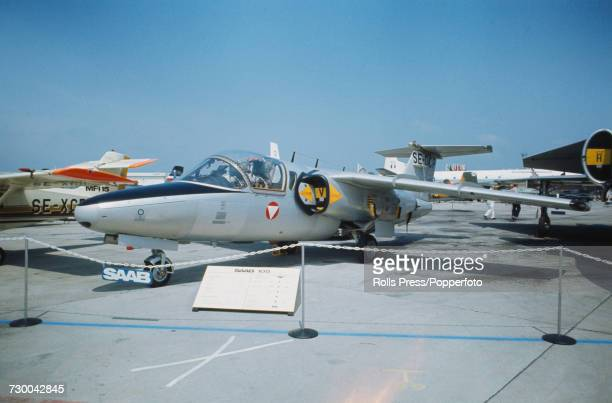 View of a Swedish built Saab 105 military trainer aircraft on static display at Le Bourget Airport during the 1971 Paris Air Show in Paris France in...