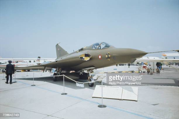 View of a Swedish built Saab 35 Draken jet fighter aircraft on static display at Le Bourget Airport during the 1971 Paris Air Show in Paris France in...
