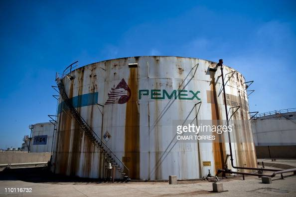 View of a tank containing processed oil at Mexican stateowned petroleum company PEMEX refinery in Tula Hidalgo state Mexico on March 8 2011 AFP...