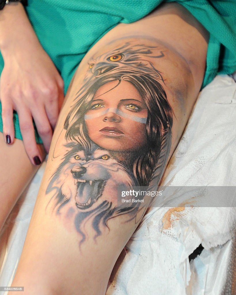 View of a tattoo on stage at the 'Ink Master' season 7 LIVE finale on May 24, 2016 in New York City.