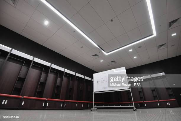 A view of a team changing room during an official media tour of the Luzhniki Stadium on December 1 2017 in Moscow Russia