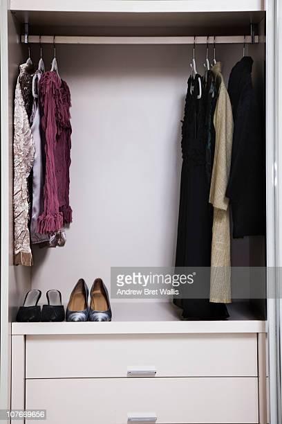 view of a tidy female wardrobe