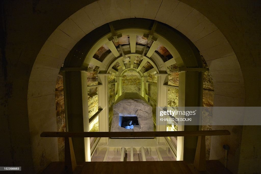 A view of a tomb at the Serapeum of Saqqara, a vast underground necropolis south of Cairo dedicated to the bulls of Apis, as it reopens to the public after 11 years of renovation, on September 20, 2012 . The Serapeum, whose origin dates back to around 1400 BC, was discovered in 1851 by French Egyptologist Auguste Mariette, founder of the first department of Egyptian antiquities. The site contains huge subterranean galleries in which are contained the large tombs of some 30 sacred bulls, accompanied by steles bearing inscriptions providing information on the reigns under which the animals lived.