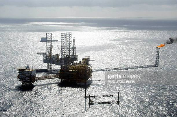 View of a Total Nigeria offshore oil and gas production platform at Amenam in the Niger delta 18 May 2005 French Trade Minister Francois Loos visited...
