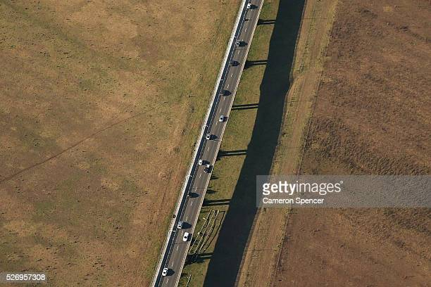 A view of a traffic commuting on the M5 freeway from a blimp on April 28 2016 in Sydney Australia The Appliances Online blimp is the only operational...