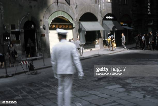 A view of a traffic guard in the road on September 17 1963 in Perugia Italy