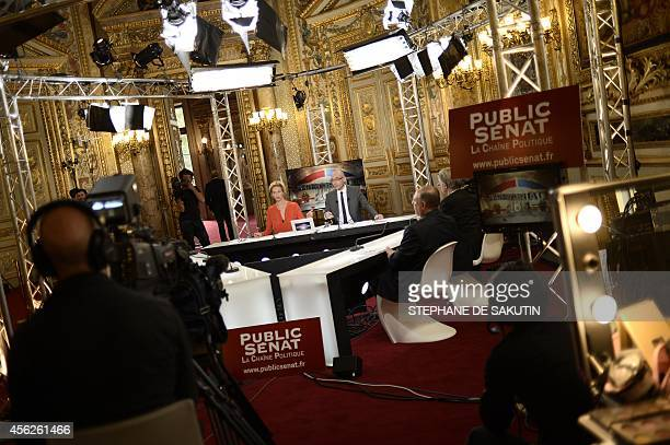 View of a TV set at the Senate in Paris on September 28 2014 during the French Senate elections Just three years after France's upper house Senate...
