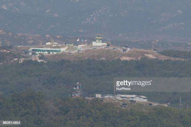 View of a United Nations guard post from Dora Observatory near the Demilitarized Zone dividing two Koreas October 13 2017