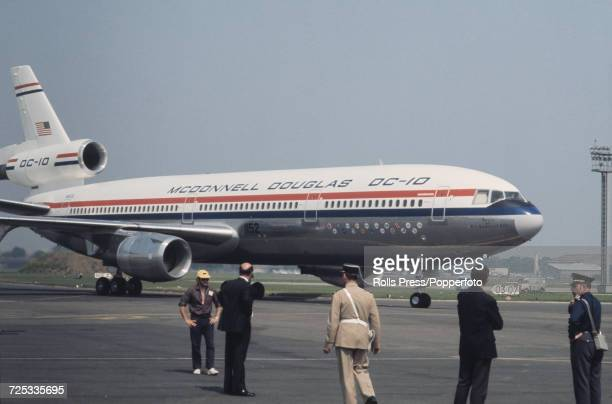 View of a United States built McDonnell Douglas DC10 threeengine wide body civilian jet aircraft taxiing on a runway at Le Bourget Airport during the...